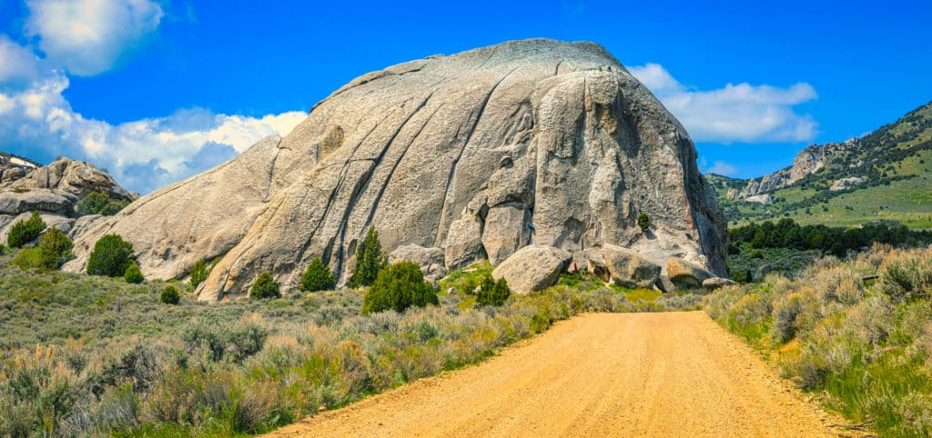 A granite rock formation that looks like a loaf of slices bread is a favorite destination for climbers in City of Rocks National Reserve in Idaho.