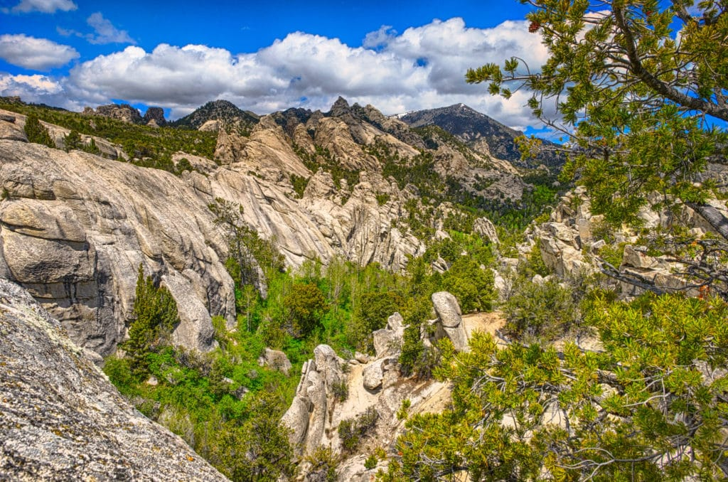 A view across the canyon from Window Arch to weathered granite mountains in City of Rocks National Reserve, near Almo, Idaho.
