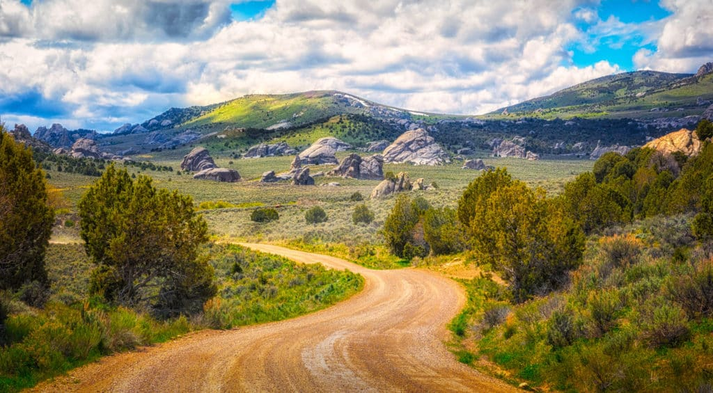 A dirt road winds through City of Rocks National Reserve, near Almo, Idaho.