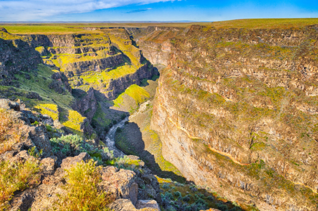 The access road to the Bruneau Canyon Overlook skirts the Saylor Creek Bombing Range. This overlook is one of the only places to get a view of what is called the Grand Canyon of southern Idaho. It is between Twin Falls and Boise.