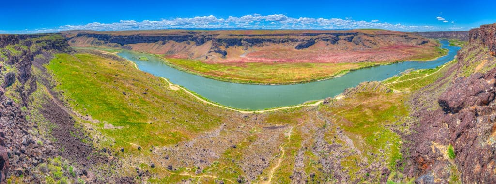 A panorama taken from Dedication Point Overlook in the Morley Nelson Snake River Birds of Prey National Conservation Area south of Boise, Idaho.