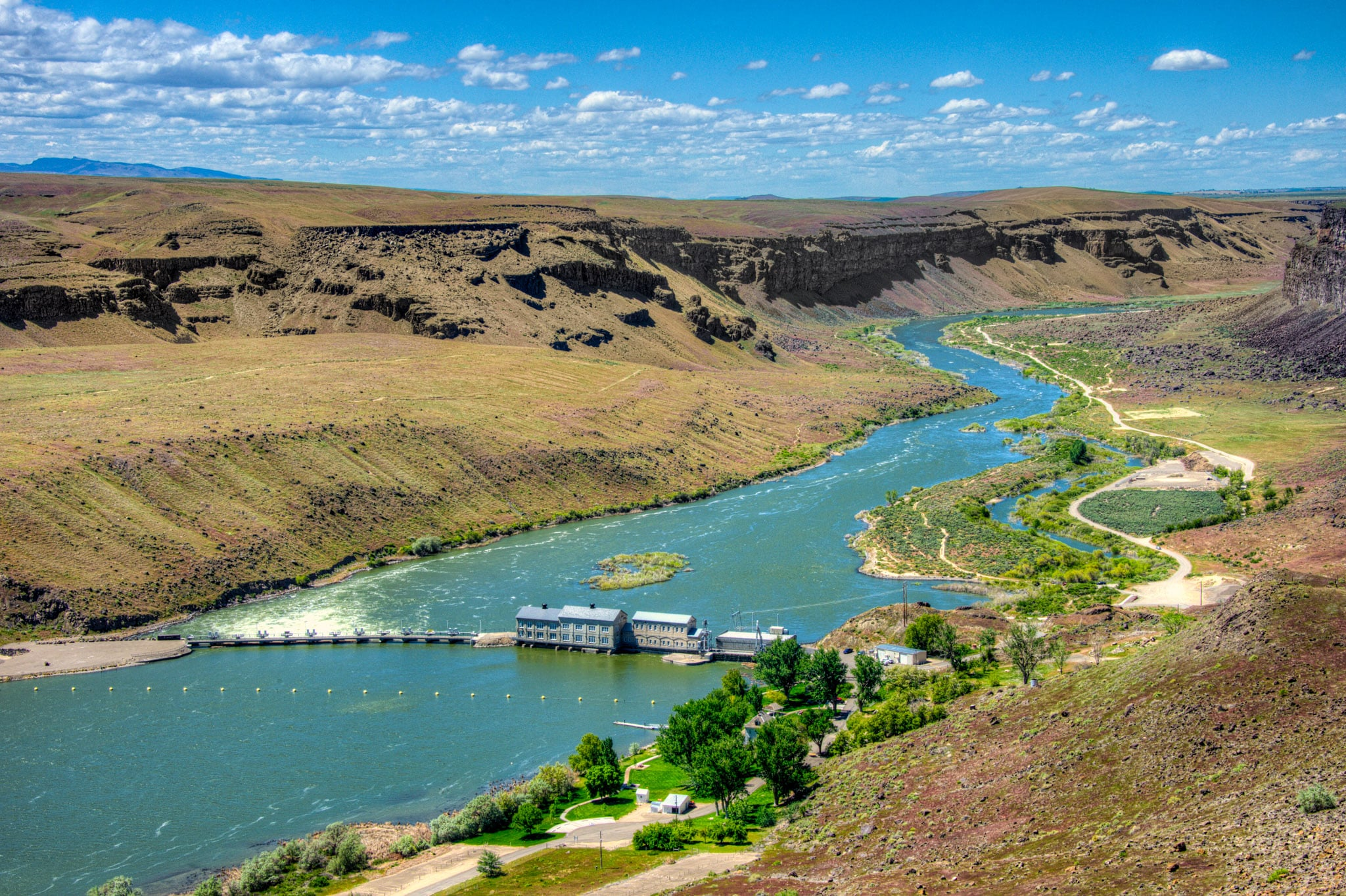 A view of the Swan Falls power station on the Snake River in the Morley Nelson Snake River Birds of Prey National Conservation Area south of Boise, Idaho.