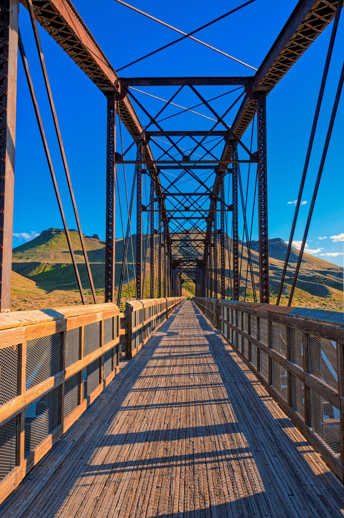Guffey Bridge is a Parker-Through-Truss Railroad Bridge that is now used as a footbridge across the Snake River in Celebration Park near Melba, Idaho.