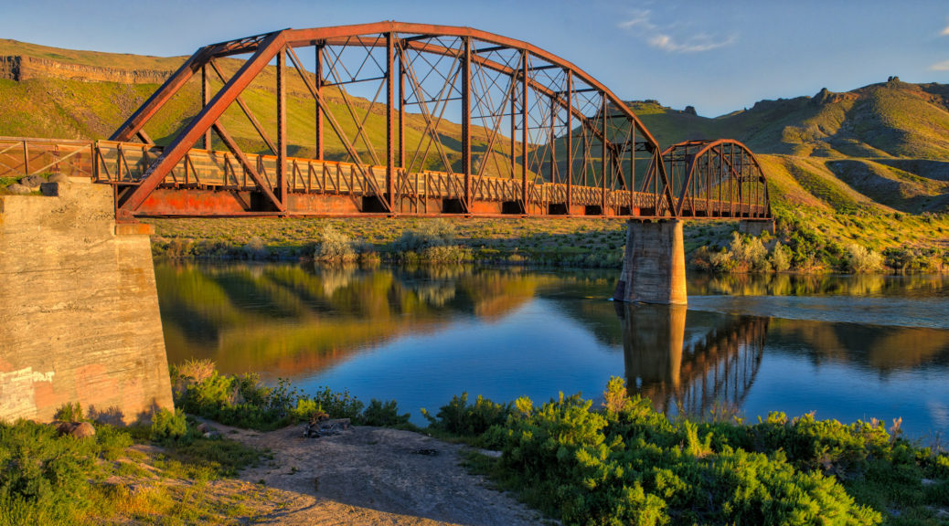 Guffey Bridge is a Parker-Through-Truss Railroad Bridge that is now used as a footbridge across the Snake River in Celebration Park near Melba, Idaho. From my Southwest Idaho Photographs.