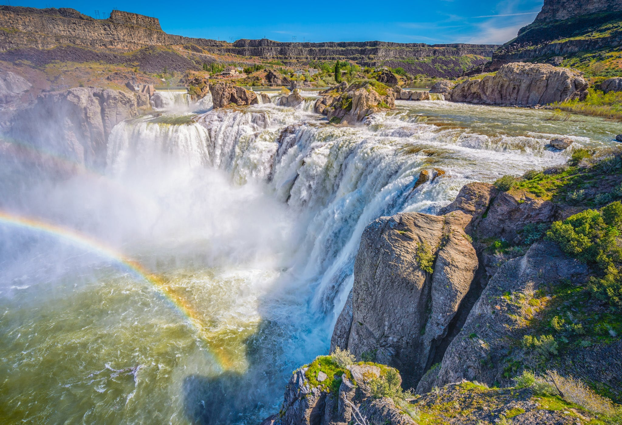 "Shoshone Falls is sometimes called the ""Niagara of the West."" On sunny days in the late spring, you will often see a single and sometimes double rainbow. It is located in the Snake River Canyon about 3 miles north of downtown Twin Falls, Idaho."