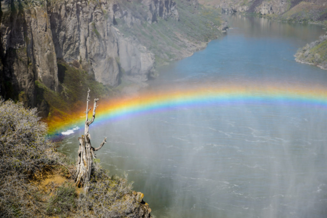 """Shoshone Falls is sometimes called the """"Niagara of the West."""" On sunny days in the late spring, you will often see a single and sometimes double rainbow. It is located in the Snake River Canyon about 3 miles north of downtown Twin Falls, Idaho."""