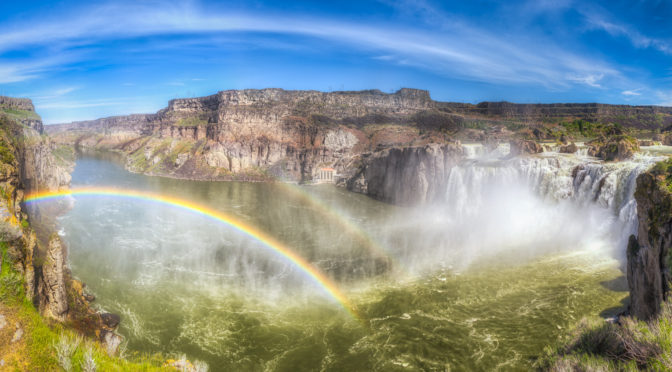 "Shoshone Falls is sometimes called the ""Niagara of the West."" On sunny days in the late spring, you will often see a single and sometimes double rainbow. It is located in the Snake River Canyon about 3 miles north of downtown Twin Falls, Idaho. From the Snake River waterfalls portfolio."