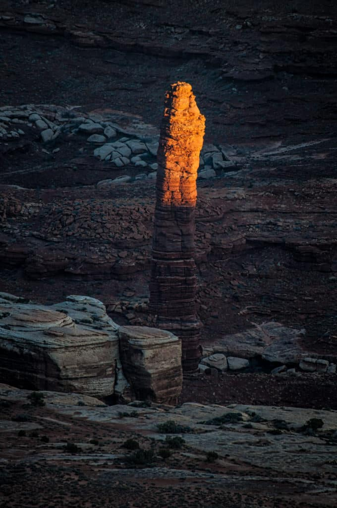 Last light of day below the rim in Canyonlands National Park.