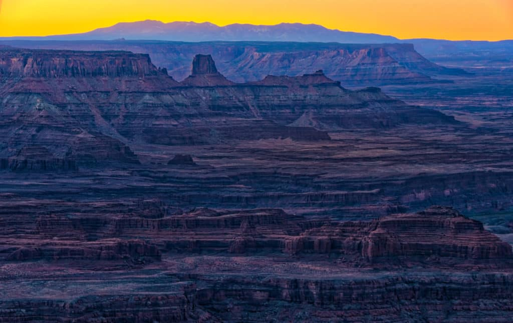 Looking south, just before sunrise, from Dead Horse Point, near Moab, Utah.