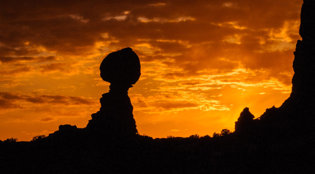 Balanced Rock at sunset in Arches National Park.