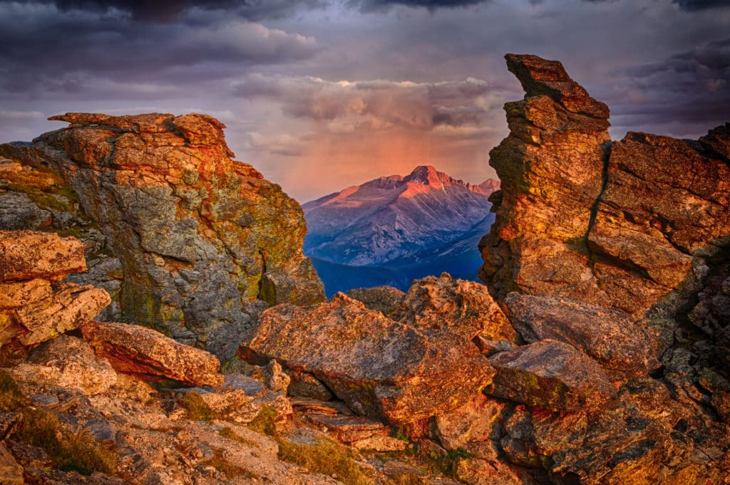Sunset on Longs Peak as seen through the notch at Rock Cut on the Trail Ridge Road in Rocky Mountain National Park.