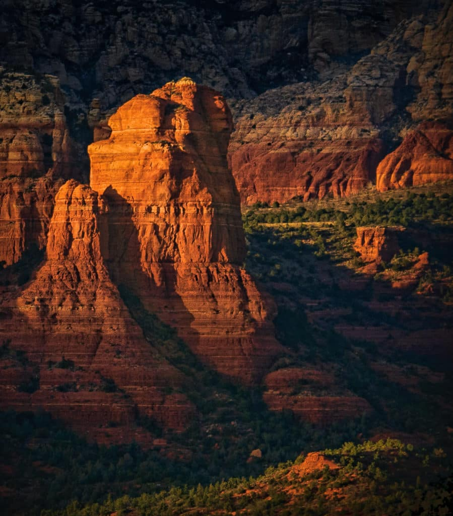 Evening light on Coffee Pot Rock in Sedona, Arizona.