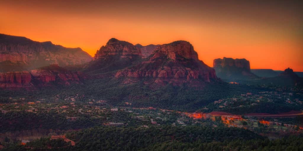 A view of Sedona as seen from the Sedona Arizona Airport at sunset.