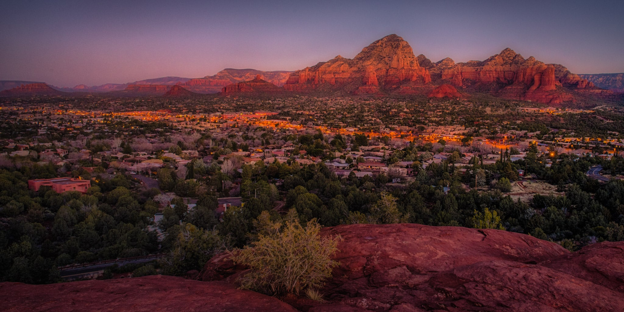A view of Sedona as seen from the Sedona Arizona Airport at sunrise.