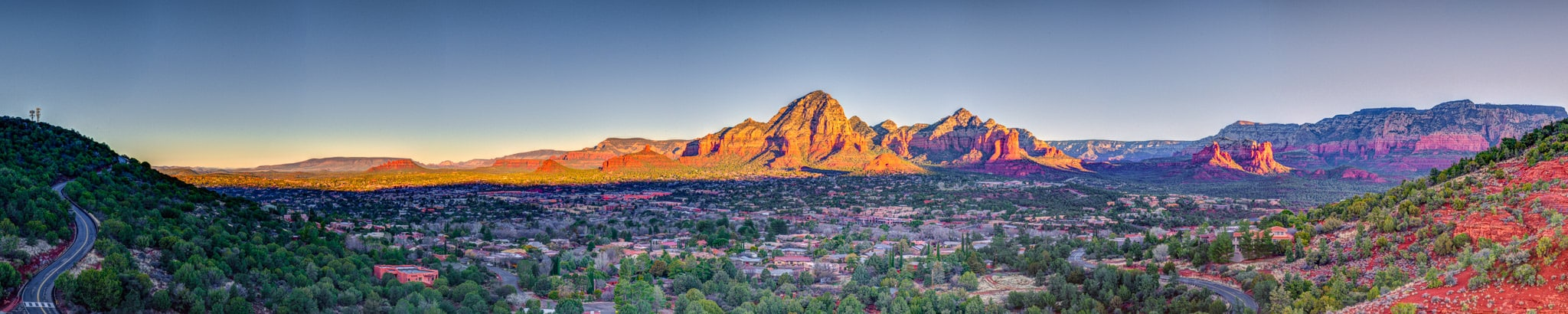 An early morning panorama of Sedona taken from Airport Road in Sedona, Arizona.
