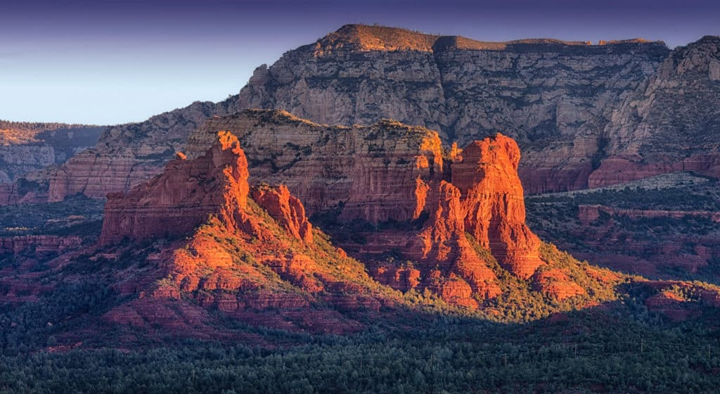 A close-up of Coffeepot Rock taken from Airport Road in Sedona, Arizona.