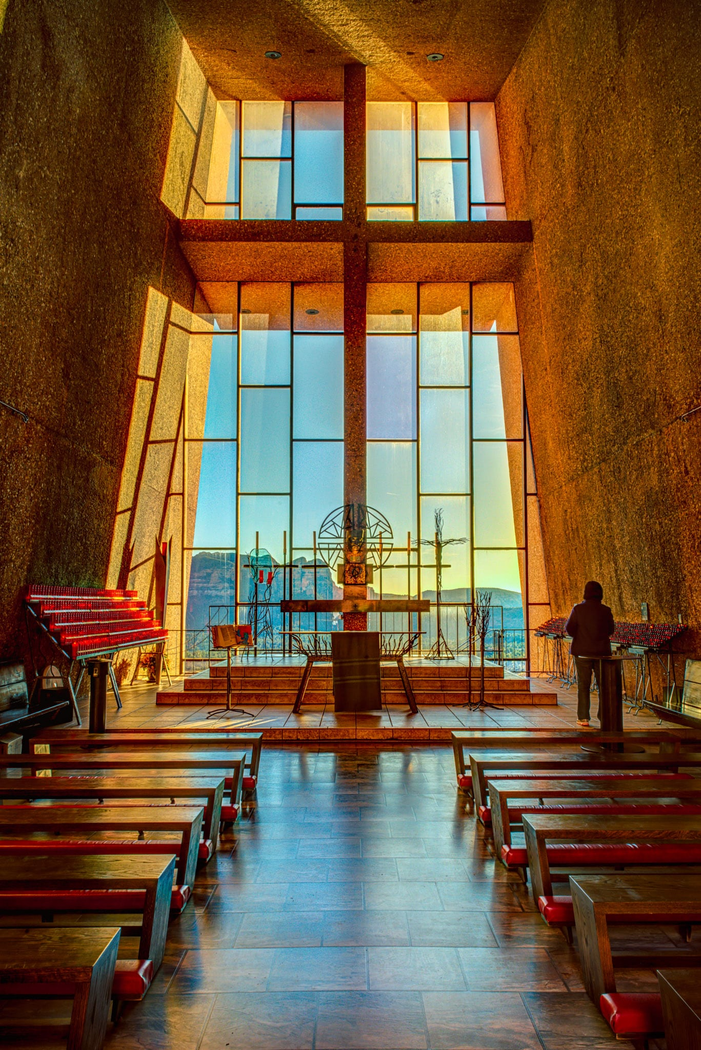 An interior view of the sanctuary of the Chapel of the Holy Cross in Sedona, Arizona.