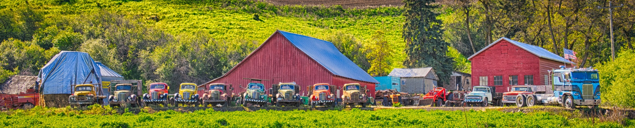 A row of mostly older trucks and other farm machinery are all lined up in front of a farm in eastern Washington near Colfax.
