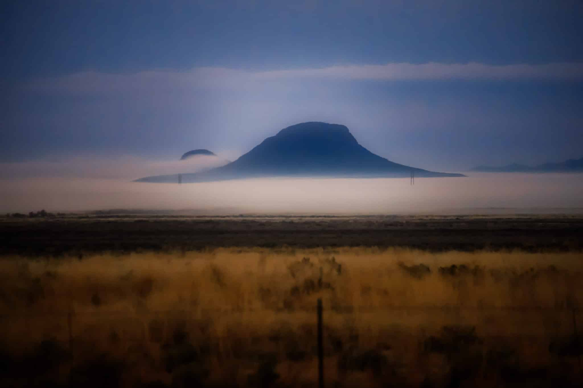 Morning fog shrouds the area around White Sand National Monument near Alamogordo, New Mexico.