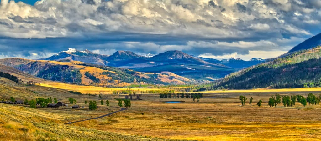 Looking down the Lamar Valley toward the Absaroka mountains. Visible at the lower left is the Yellowstone Associaton Institute facility.