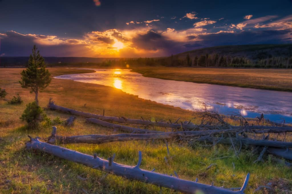 View of the Firehole River at sundown in Yellowstone National Park, Wyoming