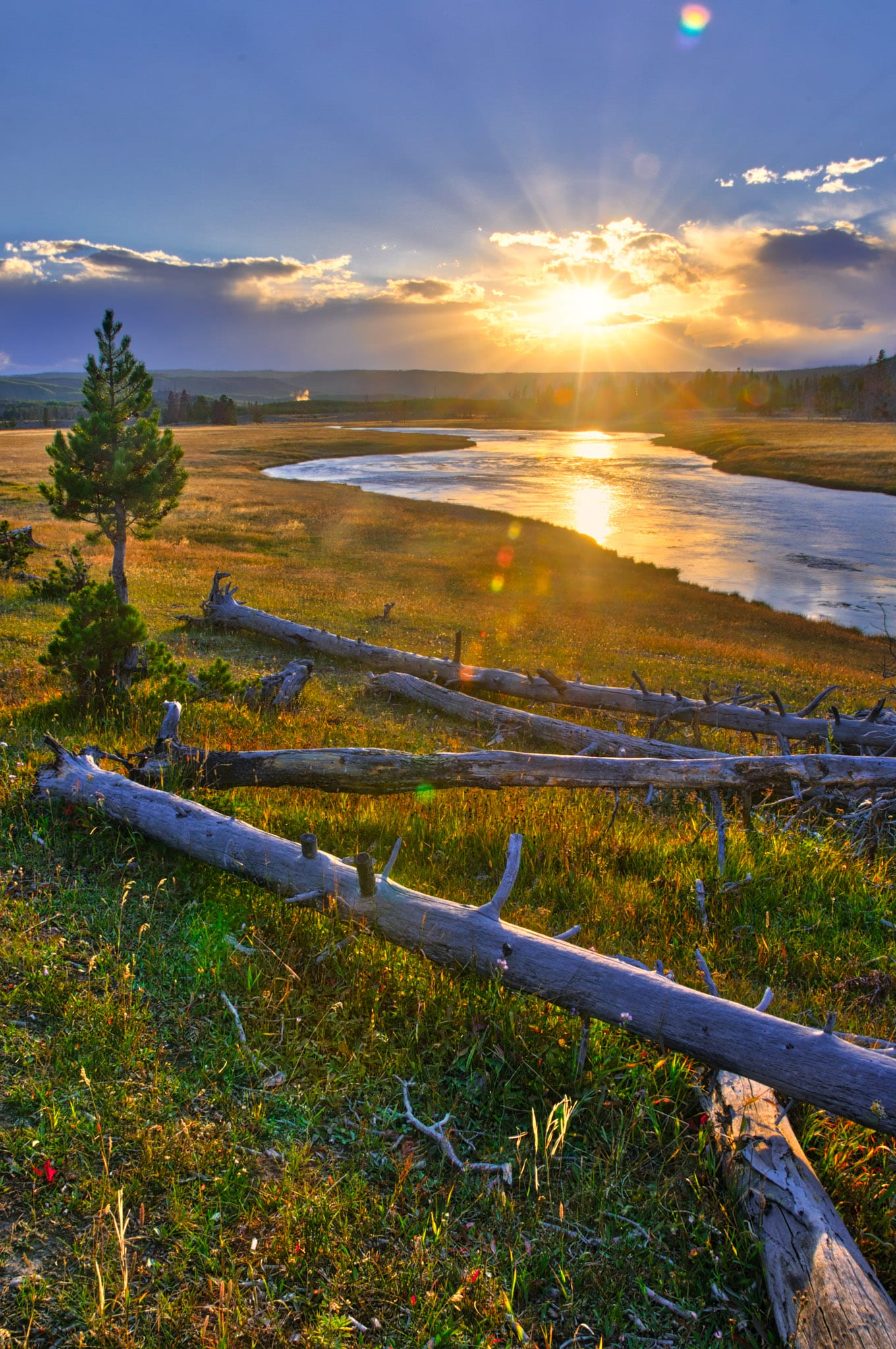 View of the Firehole River at sundown in Yellowstone National Park, Wyoming.