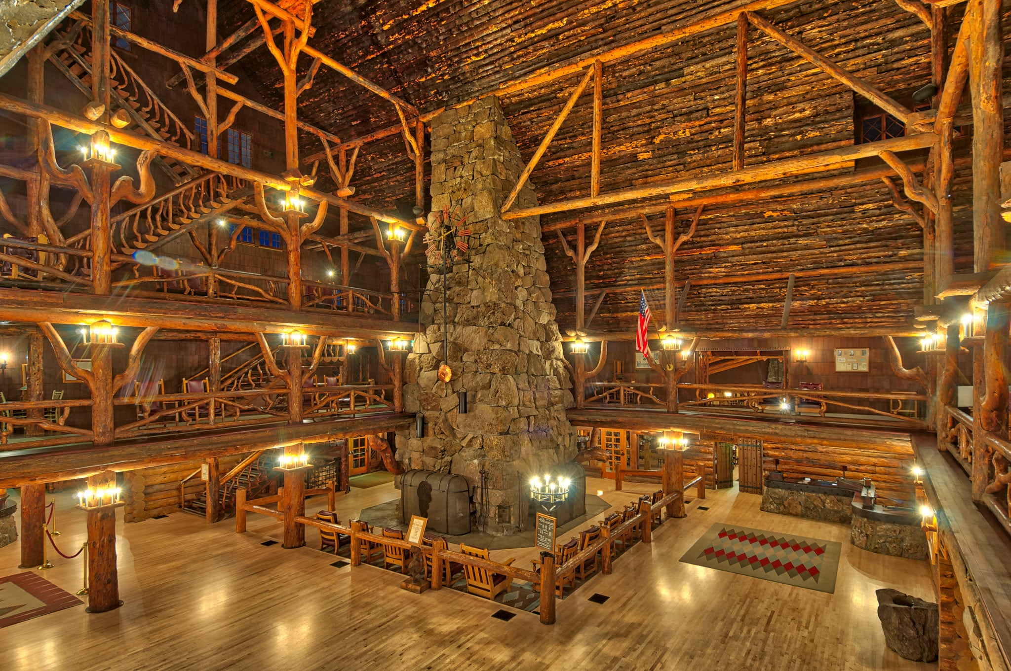 Interior views of Old Faithful Inn at dawn in Yellowstone National Park, Wyoming.