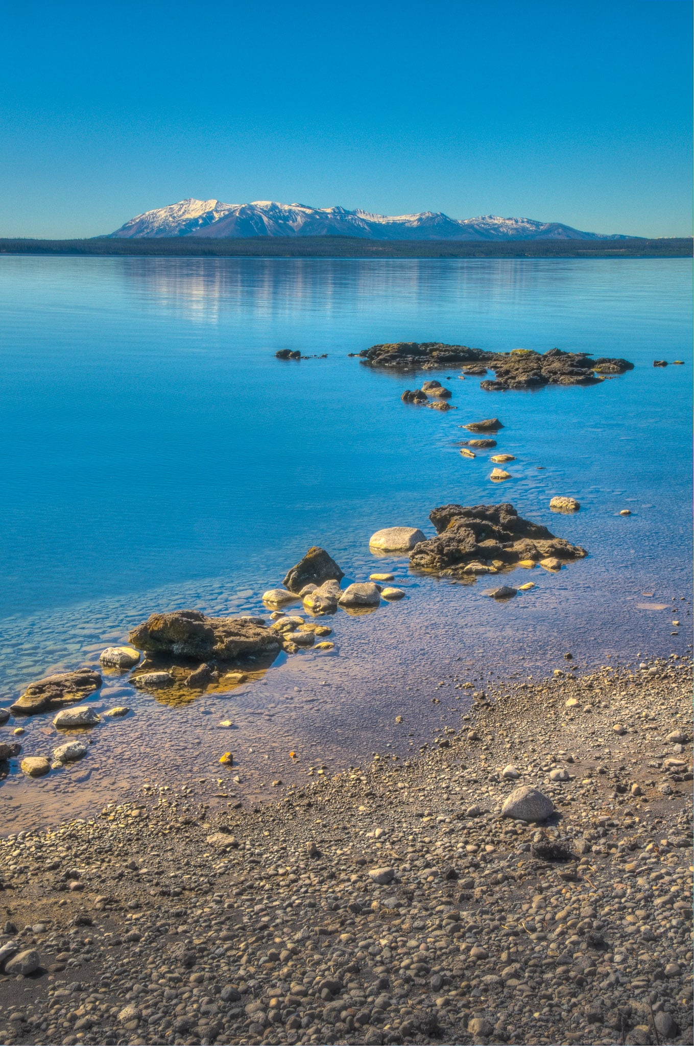 Looking across the West Thumb of Yellowstone Lake in Yellowstone National Park, Wyoming