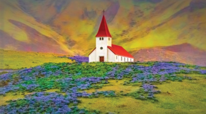 The church in Vik in on the cover of the print addition of Churches in Iceland.