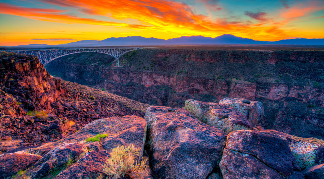 The Rio Grande Gorge at sunset taken from near the Rio Grande Gorge Bridge outside of Taos, New Mexico.
