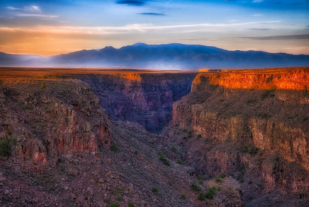 The Rio Grande Gorge at sunrise taken from near the Rio Grande Gorge Bridge outside of Taos, New Mexico.