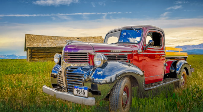 1945 Dodge Pickup Truck with red body and black fender - Automotive Photography Portfolio