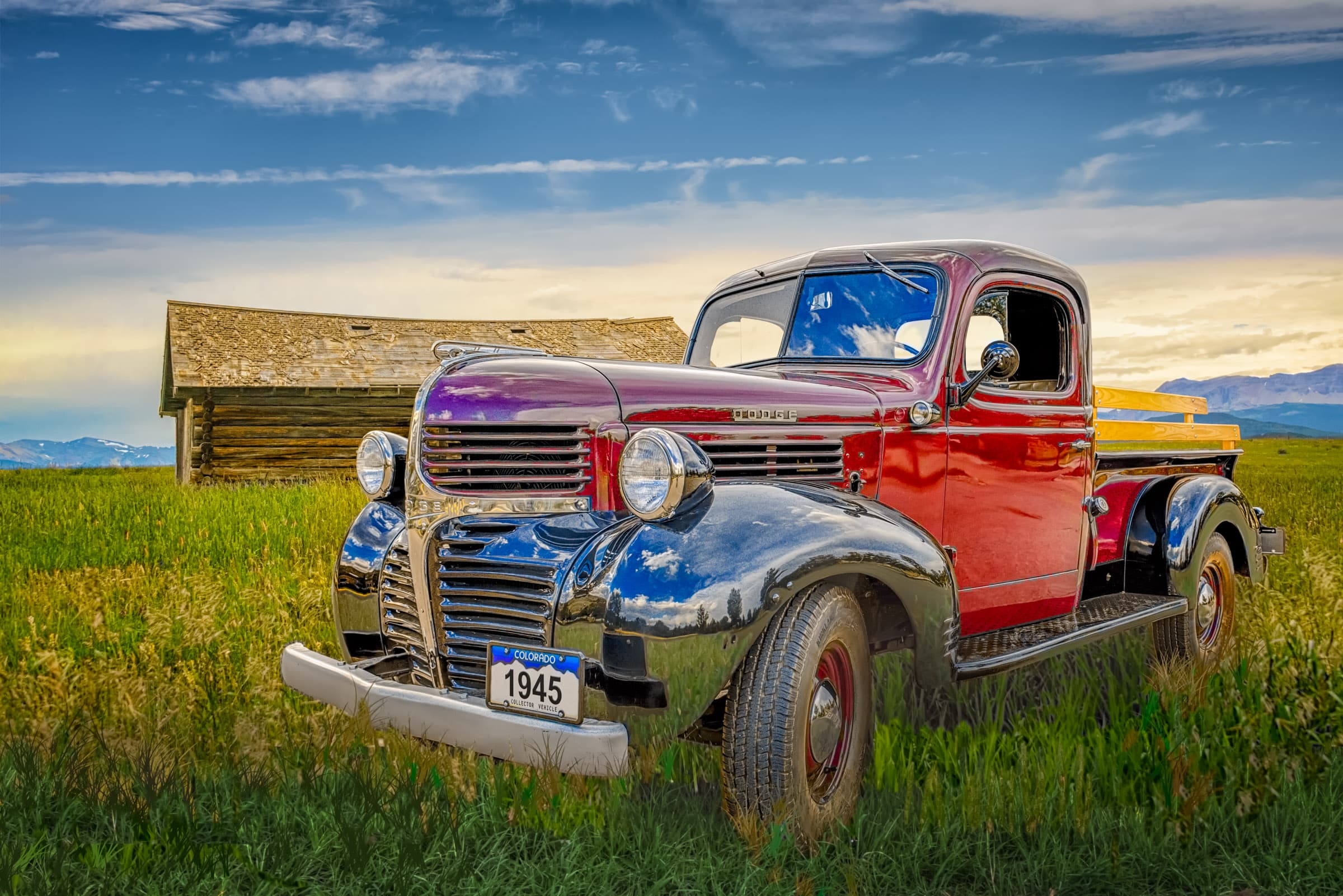 1945 Dodge Pickup Truck With Red Body And Black Fender Automotive Photography Portfolio