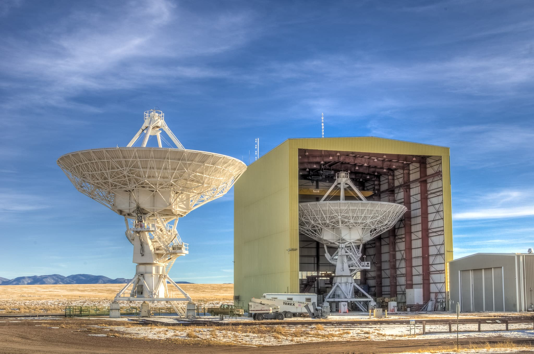 Back end of one of the radio telescopes of the Very Large Array radio observatory, west of Socorro, New Mexico.