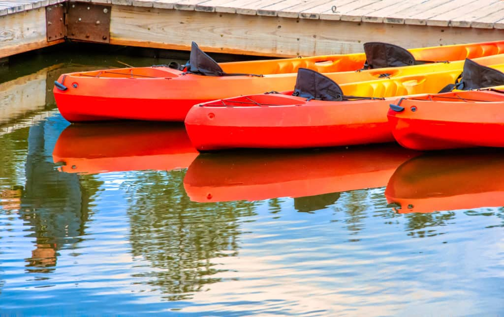 Colorful canoes await visitors to Sylvan Lake Day Use Area in Custer State Park, South Dakota.