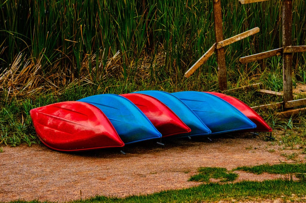 Red and blue canoes are nestled together on the shore of Sylvan Lake in custer State Park, South Dakota.