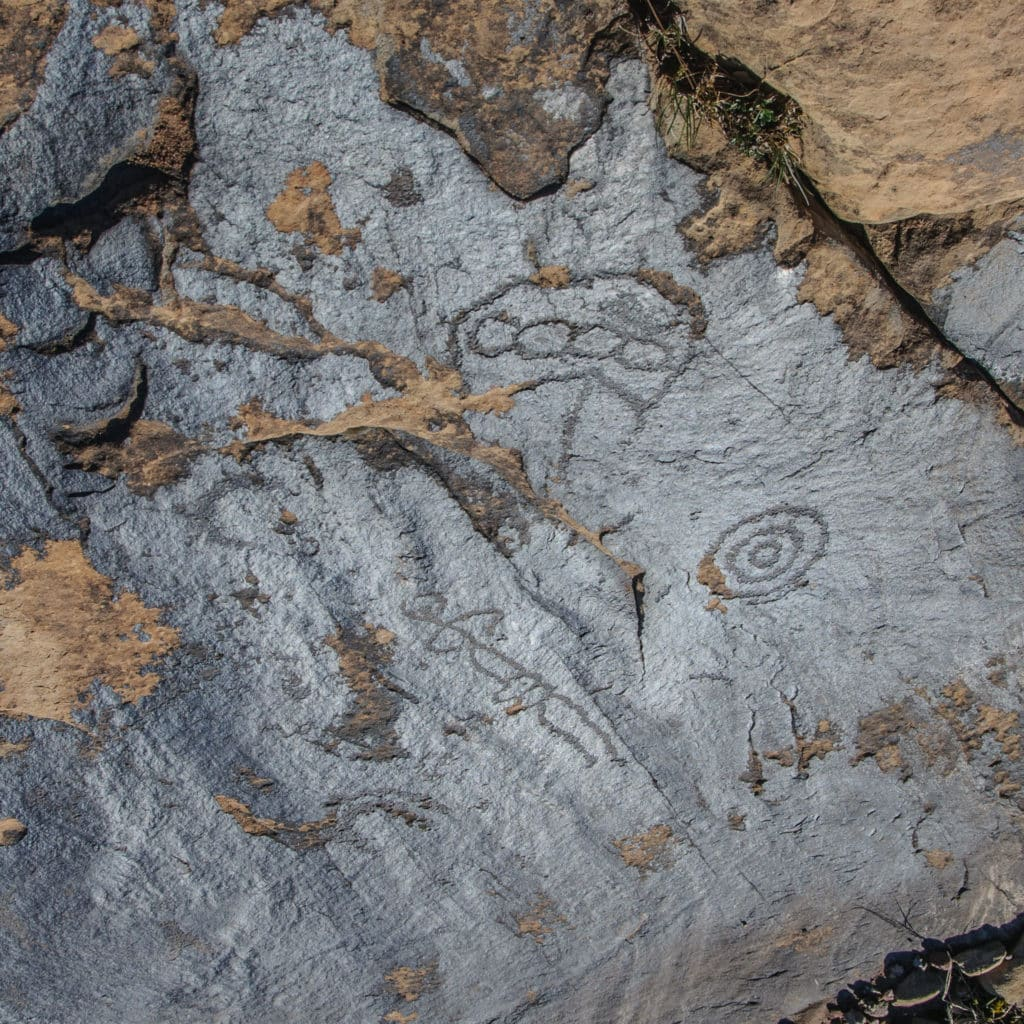 Rare horizontal petroglyph carved into desert varnish near the Harpers Corner Road in Dinosaur National Monument.