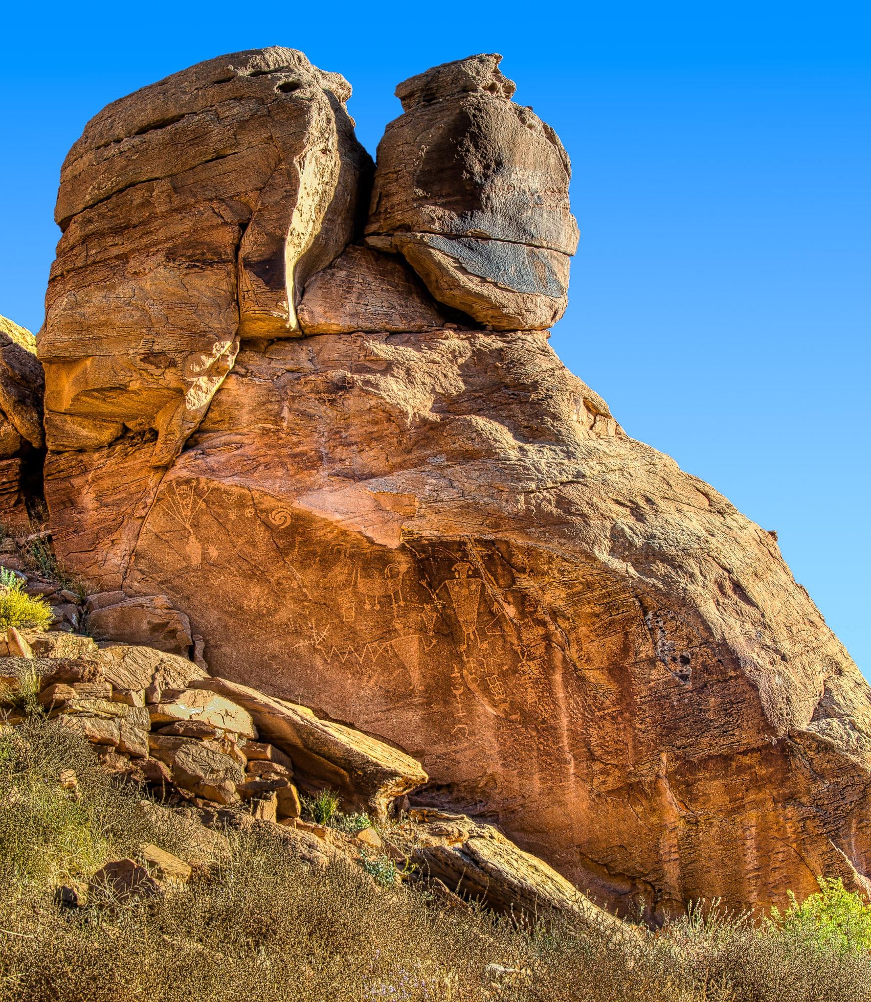Petroglyphs on rock overlooking Cub Creek In Dinosaur National Monument.