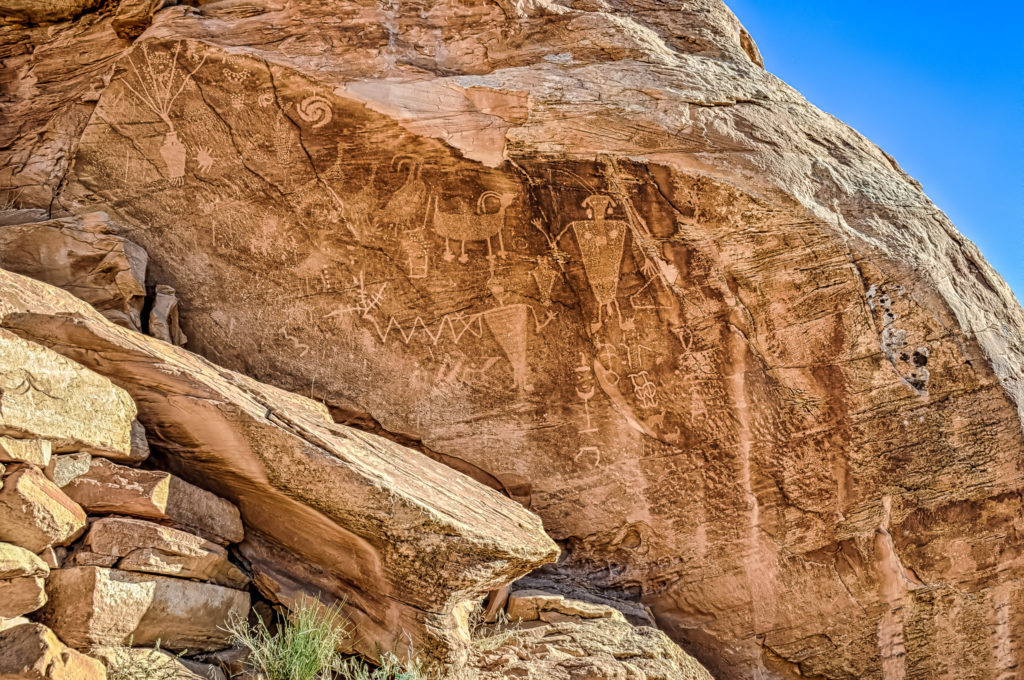 Petroglyphs on rock overlooking Cub Creek In Dinosaur National Monument.