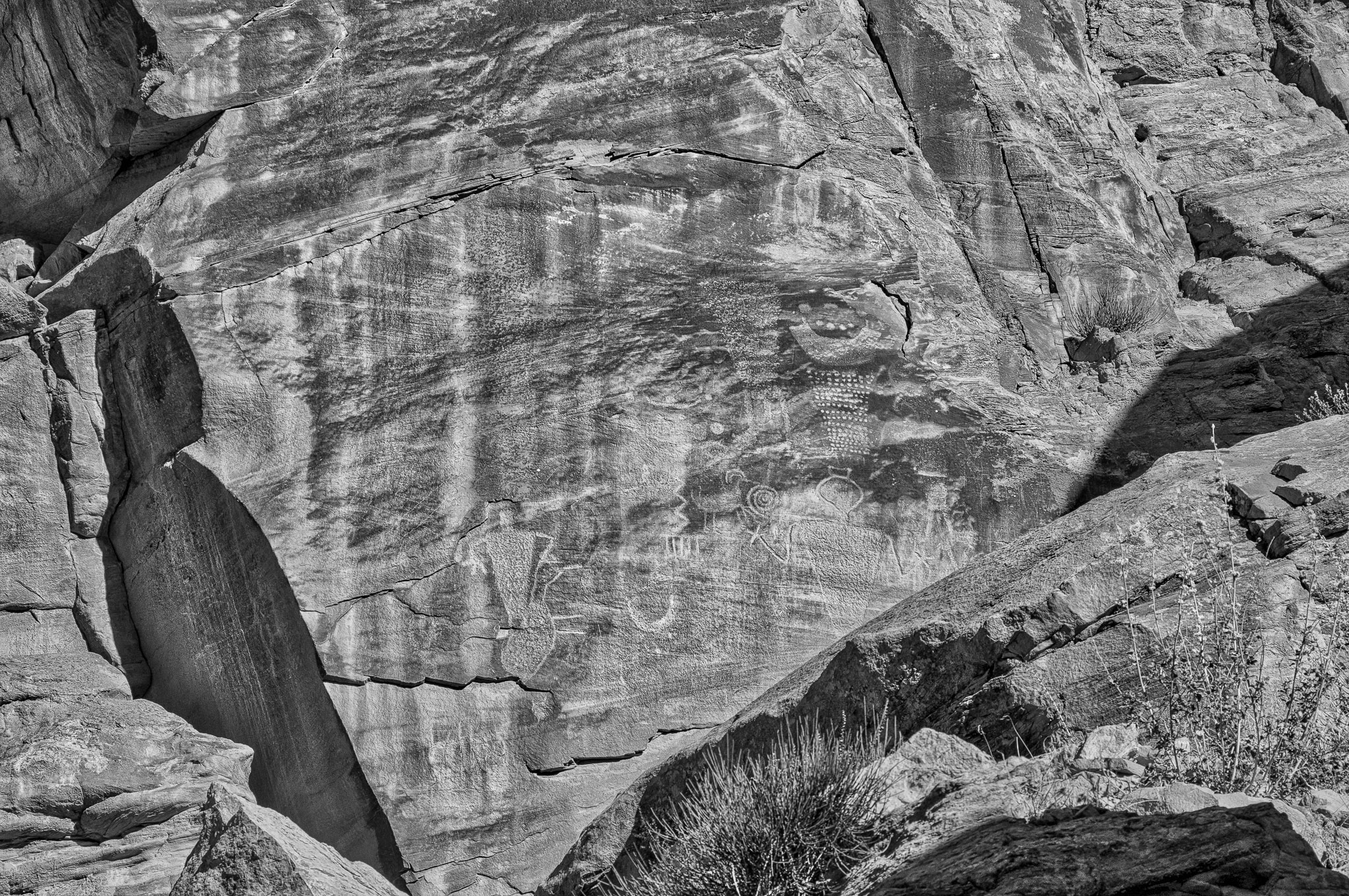 Closeup of petroglyphs on rock overlooking Cub Creek In Dinosaur National Monument.