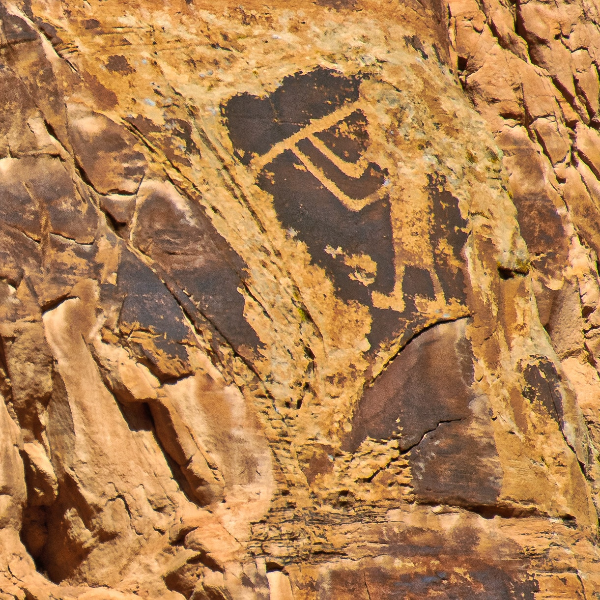 Petroglyph of Kokopelli serenading tourists along Cub Creek Road In Dinosaur National Monument.