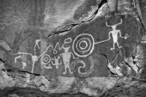 Petroglyphs on the trail at McKee Springs, along Island Park Road, in Dinosaur National Monument in Utah. Dinosaur National Monument petroglyphs.