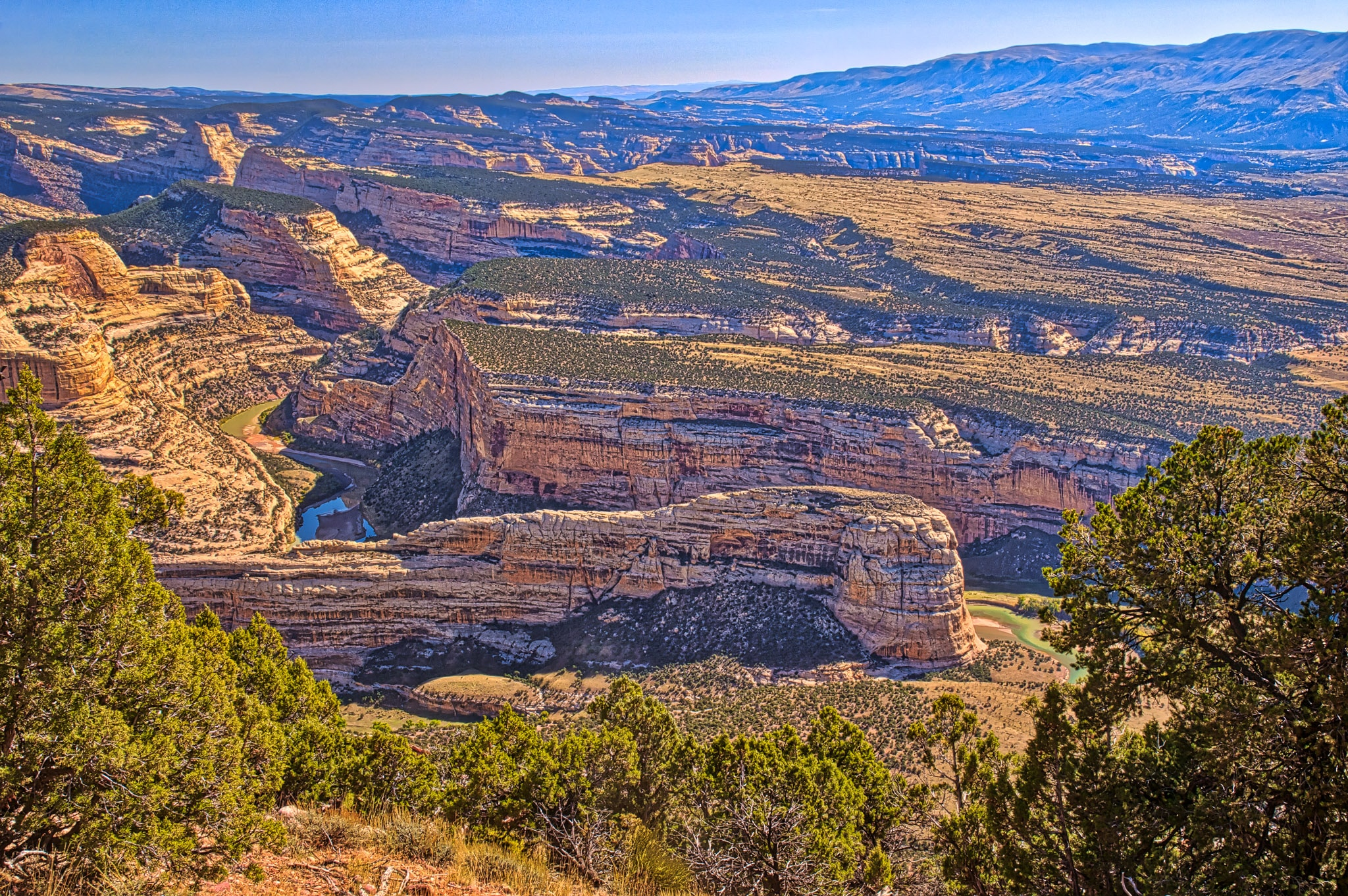 Steamboat Rock and Echo Park from the Harpers Corner Trail in Dinosaur National Monument near Dinosaur, Colorado.