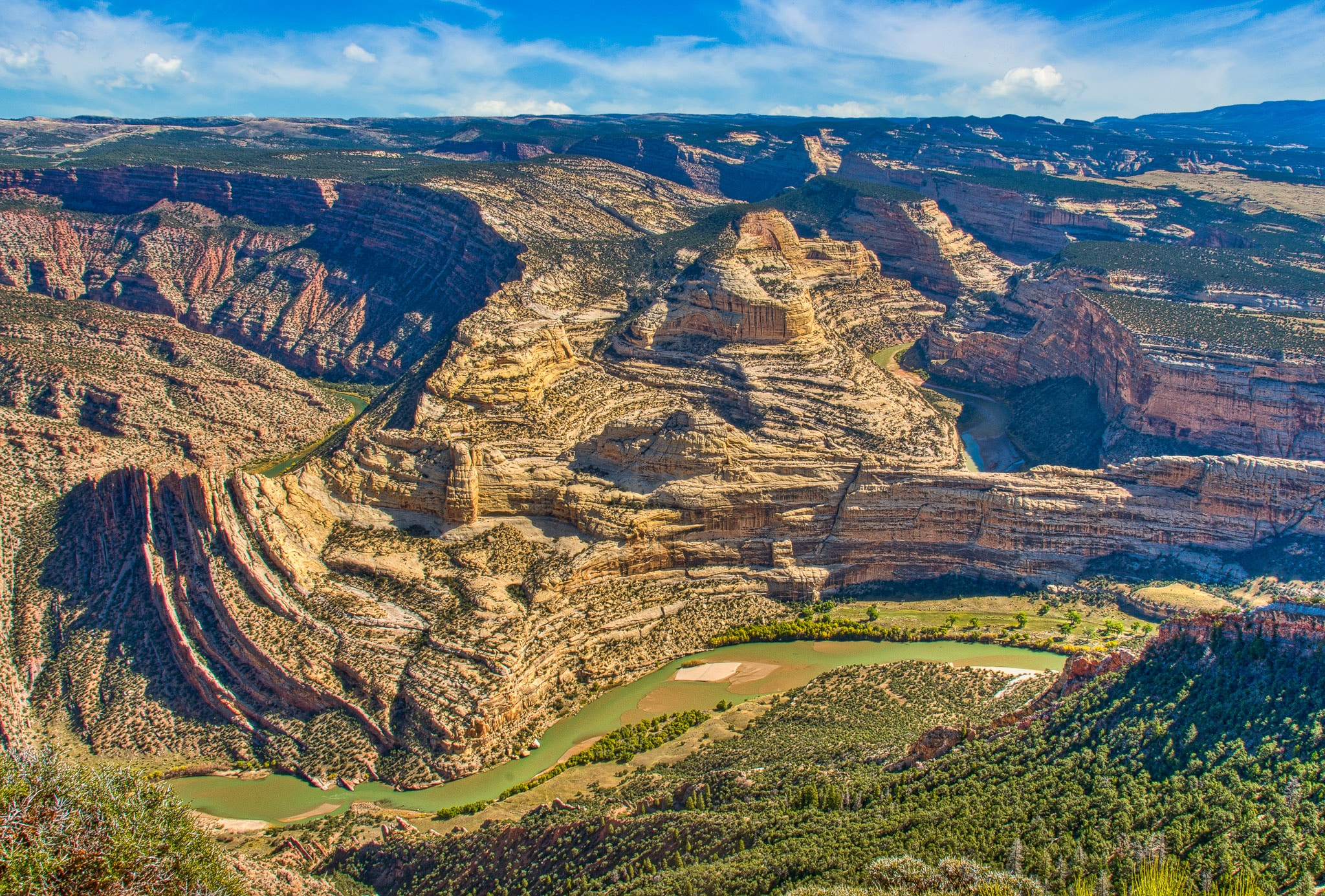 Rock strata upturned and twisted at the Mitten Park Fault in Dinosaur National Monument.