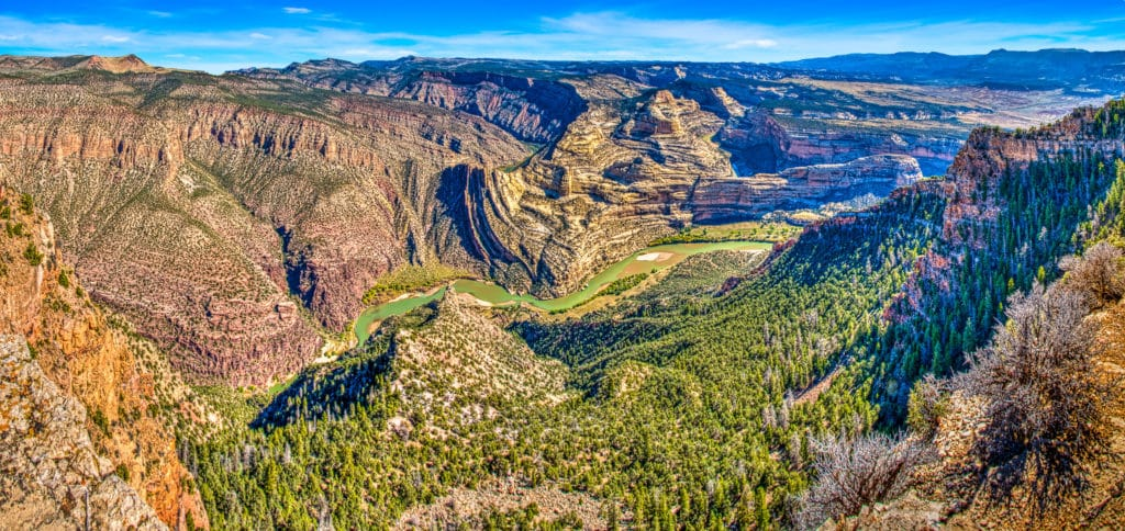Rock strata upturned and twisted at the confluence of the Green and Yampa Rivers in Dinosaur National Monument.