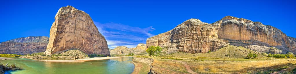 Green River and Steamboat Rock at Echo Park in Dinosaur National Monument. This panorama spans about 300 degrees.