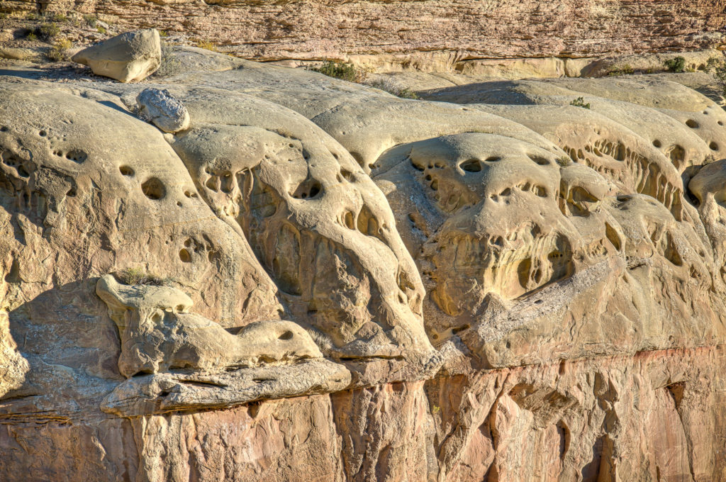 Rounded features at Turtle Rock that many feel resemble human skulls. On Cub Creek Road in Dinosaur National Monument near Jensen, Utah.