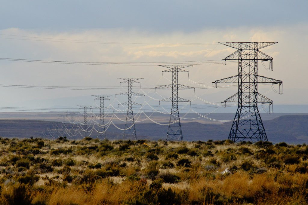 Electricity towers from the Bonanza Power Plant, south of Vernal, Utah.