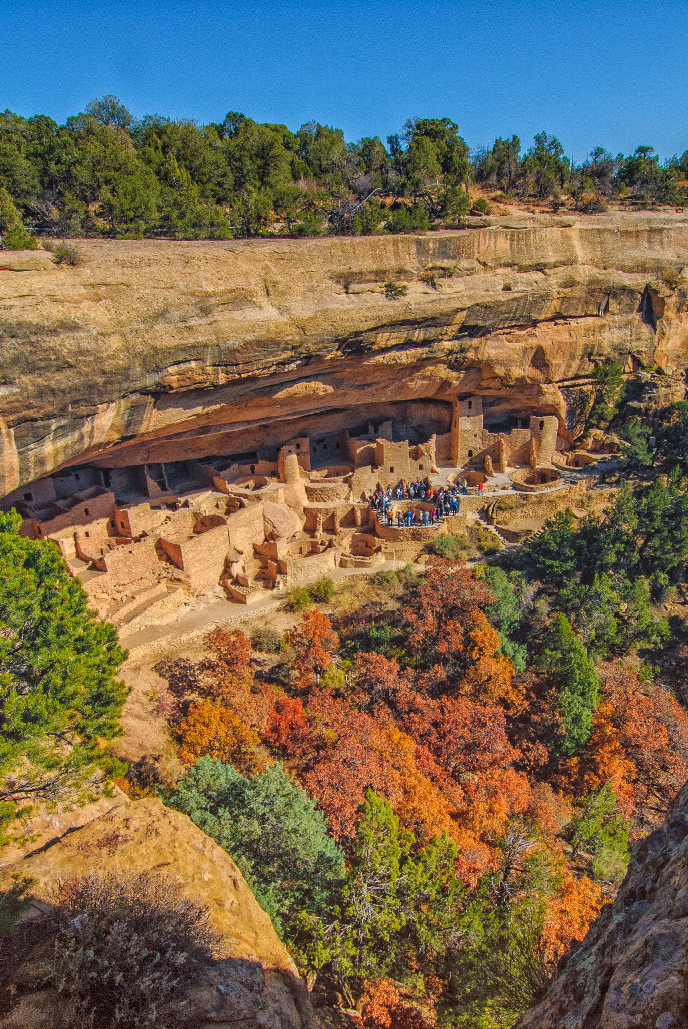 Overview of Cliff Palace in Mesa Verde National Park. Tourists encircle an open kiva.
