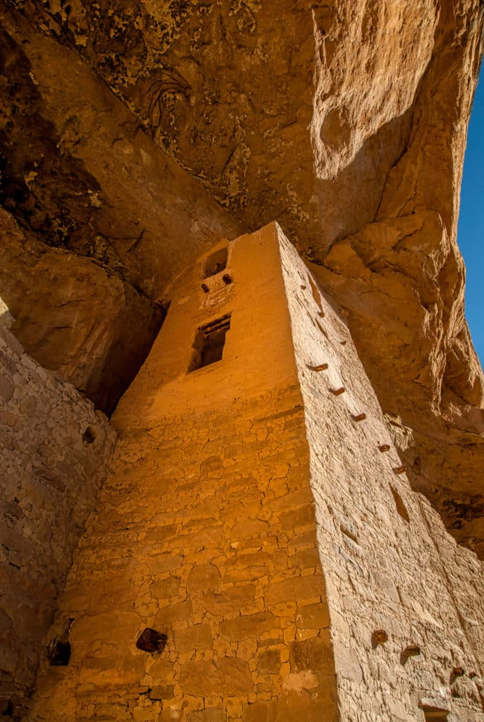 Square tower at south end of Cliff Palace ruins in Mesa Verde National Park near Durango and Cortez, Colorado.